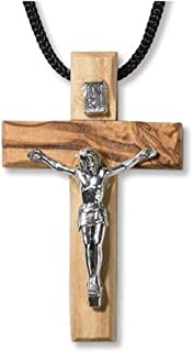 CB Mens Womens Catholic Gift Hand Made in The Holy Land Olive Wood 2 Inch Cross Crucifix Pendant wtih 24 Inch Cord Chain Necklace