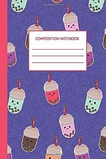 "composition notebook: Blank Lined Journal Notebook, 6"" x 9"" bubble tea notebook | boba lovers Journal for women, girls, ki..."