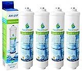 4x AquaHouse AH-UIF Compatible Filtre à eau universel pour réfrigérateur Samsung LG Daewoo Rangemaster Beko Haier etc Réfrigérateur Congélateur
