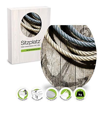 SITZPLATZ® WC-Sitz mit Absenkautomatik, Maritim Dekor Seemannstau, High-Gloss Toilettensitz mit Holzkern, Fast-Fix Schnellbefestigung, Standard O Form universal, Klodeckel, 40293 4