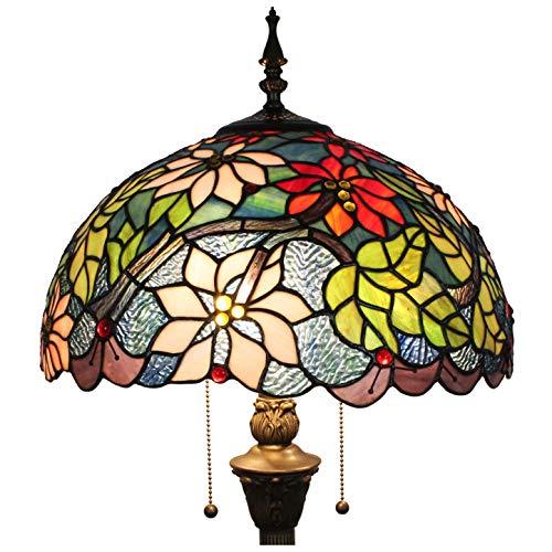 Tokira Tiffany Lámpara de Pie de Salón Grande de 16 Pulgadas, Europeo Vidrio Multicolor Lámpara de Pie de Lectura Retro, Diseño Luz de Noche Vintage, Suministrado con Bombilla 2 LED