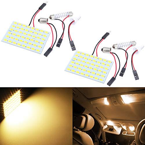 TABEN Blanco cálido Ahorro de energía 5630 48-SMD LED Panel Luz de Techo Auto Car Interior Placa de Lectura Luz Techo Techo Interior Lámpara con Cable + T10 BA9S Adaptadores de festón DC 12V