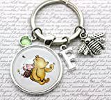 Winnie The Pooh, Personalised Pooh Bear and Piglet Illustration Keyring, Friendship Gift Bee Charm, Initial and Birthstone Crystal