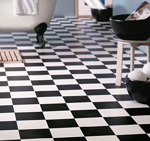 Suelo de PVC con aspecto de tablero de ajedrez (9,95 €/m²), corte (4 m de ancho, 2 m de largo).