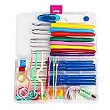 AIMG Kit de Costura Juego Completo para el hogar DIY 16 tamaños Ganchos de Ganchillo Agujas de Tejer Puntadas Caja de Costura Set 57 en 1 Herramientas de Costura para Tejer