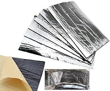 6 alfombrillas de protección contra el calor para silenciador de escape de coche con aislamiento de fibra de vidrio, 50 x 30 cm