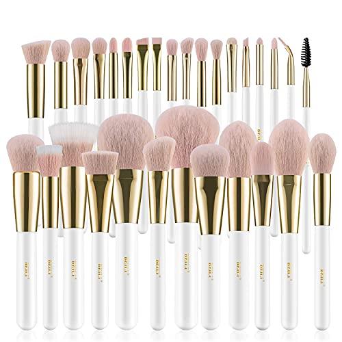 BEILI Makeup Brushes 30Pcs Professional Makeup Brush Set Premium Pink Vegan Synthetic Kabuki Foundation Blending Brush Face Powder Blush Concealers Eye Shadows Eyebrow Eyeliner Make Up Brush Tools Kit(White Rose Gold)