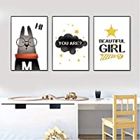 眼鏡をかけている漫画のウサギ雲のポスター赤ちゃんの保育園の動物の引用壁アートキャンバス絵画北欧の子供たちの寝室の装飾50x70cmフレームなし