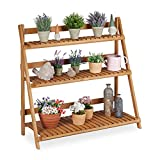 Relaxdays Blumentreppe Holz, klappbar, innen & außen, 3 Ebenen, freistehend, HBT: 95x100x40 cm, Pflanzentreppe, braun