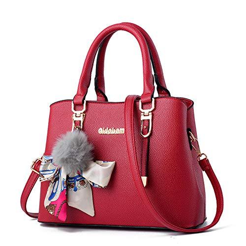 JFJWH Bolsos de Mujer, Bolso Señora Tote, Bolso de Hombro Mujers,PU cuero gran capacidad simple seda bufanda arco bolso regalo para madre