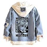 YEOU Hunter Manga Hoodie Sweatshirt Hisoka Cosplay Costume Demin Trucker Jacket Anime Cosplay for Men Women (StyleC-02,S)