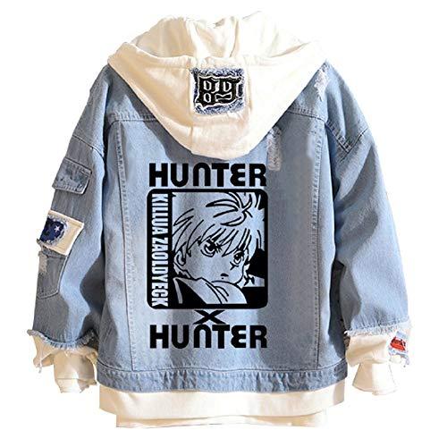 YEOU Hunter Manga Hoodie Sweatshirt Hisoka Cosplay Costume Demin Trucker Jacket Anime Cosplay for Men Women (StyleC-02,L)