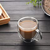 4Pcs Insulated Glass Coffee Cups, 5oz Coffee Mugs with Handle Double Wall Tea