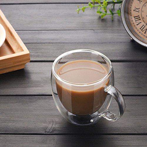 Tazas de vidrio aisladas de doble pared con asa, tazas transparentes de 5 onzas, juego de 2 tazas de café para café Latte Americano Cappuccinos bolsa de té bebida