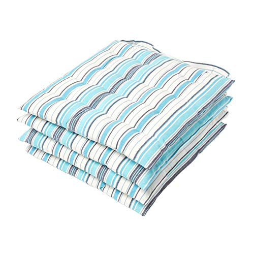 HOMESCAPES Blue Stripe Seat Pad Cushion for Dining Chairs Set of 4 100% Cotton Chair Pad with Straps 40 x 40 cm New England Design