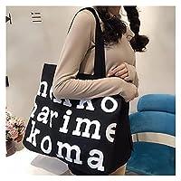 ンス キャンバス トートバッグ ショッピングバッググラフィックトート原宿ショッパーバッグ女性高容量エコキャンバスショルダーバッグ再利用可能な買い物袋 贈り物 (Color : F 1)