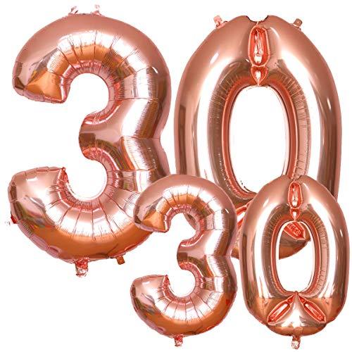 """Luftballons 30. Geburtstag, HTBAKOI 30 geburtstag luftballon Rosegold in 2 Größen 40\"""" (100cm) + 16\"""" (40cm) Riesige Heliumballons als Dekoration Zum 30. Geburtstagsparty"""