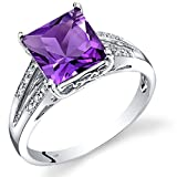 14K White Gold Amethyst Diamond Ring Princess Cut 2 Carats Total