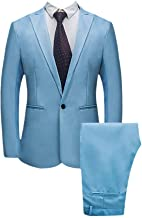 Realdo Mens 2 Pieces Suit,Mens Slim Fit One Button Business Wedding Banquet Blazer & Trousers
