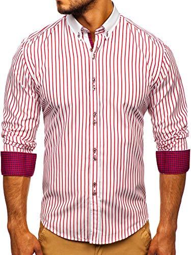 BOLF Herren Hemd Langarm Button-Down Kragen Slim Fit Streifen Muster Casual Style 9713 Rot L [2B2]