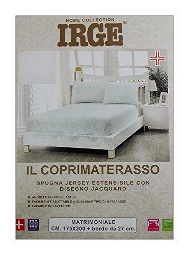 Irge COPRIMATERASSO in Spugna Jersey Estensibile con Disegno Jacquard CM 175X200 con Bordo da 27 CM