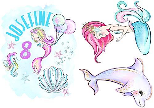 wolga-kreativ Bügelbild Applikation Aufbügler Set A4 1 2 3 4 5 6 Geburtstag Name Zahl Meerjungfrau Luftballon zum selbst Aufbügeln Geburtstagsshirt Kindergeburtstag