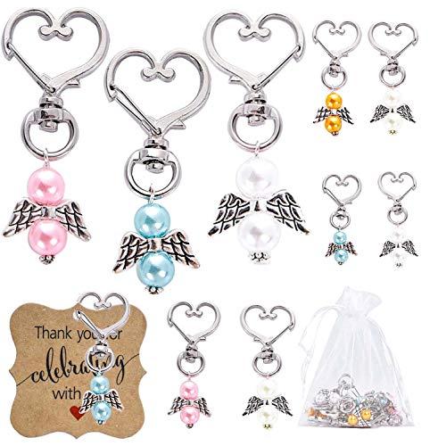 50 bomboniere per matrimonio, angelo custode + sacchetto di organza + ciondolo regalo per battesimo, baby shower, festa di compleanno, angelo perla pendente, 50 pezzi