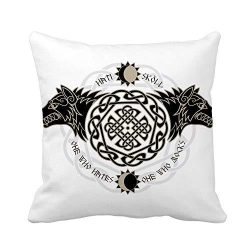 N\A Throw Pillow Cover Dos Lobos de la mitología nórdica Hati y Skoll Devour Funda de Almohada Funda de Almohada Cuadrada Decorativa para el hogar Funda de cojín