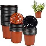 Enenes 50 macetas redondas de plástico blando de 10 cm para plantas y esquejes, 50, 10 cm