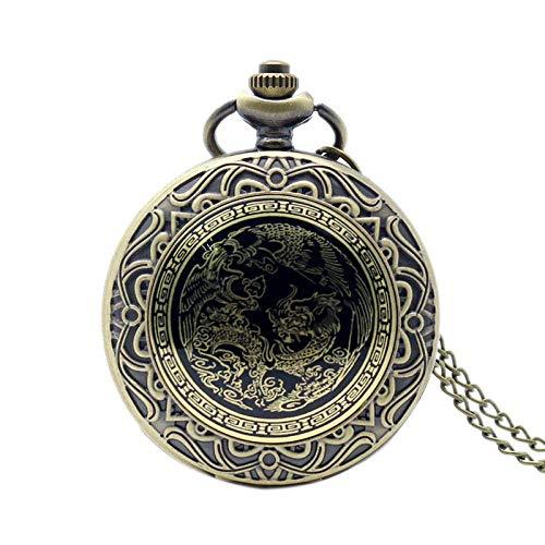 Reloj de Bolsillo Relojes Dragón y Fénix Bronce Cuarzo Reloj de Bolsillo Colgante Reloj con Encanto Esfera Blanca Hombre Mujer Regalo