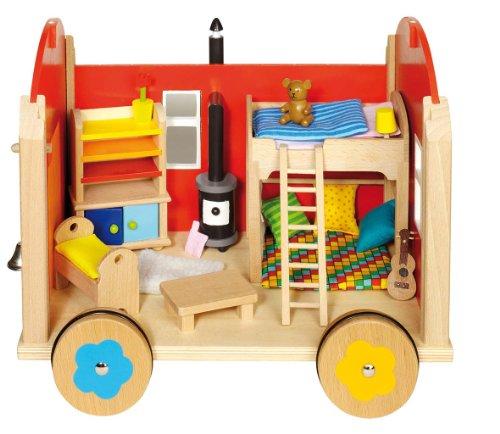 Goki 51814 - Puppenbauwagen mit Zubehör