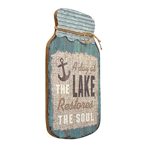 "Barnyard Designs A Day at The Lake Restores The Soul Mason Jar Decorative Wood and Metal Wall Sign Vintage Lake House Decor 14""x 9"""