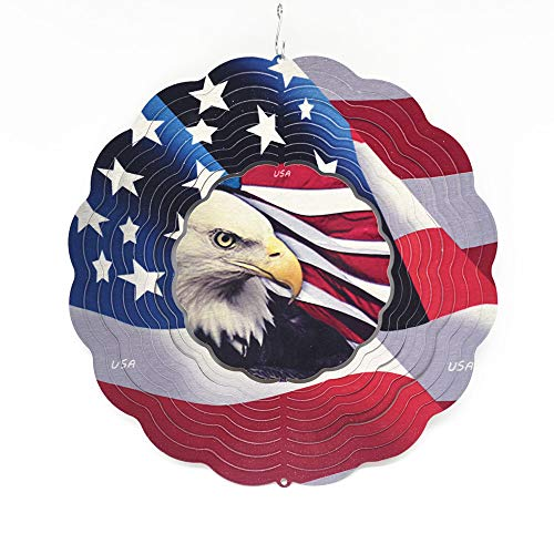 FENELY Kinetic Metal Wind Spinner for Outdoor Garden Decoration,3D Crafts Ornaments Metal Wind Sculptures & Spinners Whirligig Gifts with12inch (Flag Wind Spinner)