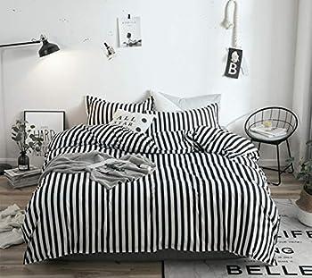 Jumeey Black and White Duvet Cover Queen Striped Bedding Set Men Women Cotton Ticking Stripes Bedding Full Modern White Black Duvet Cover Bed Set Full Size