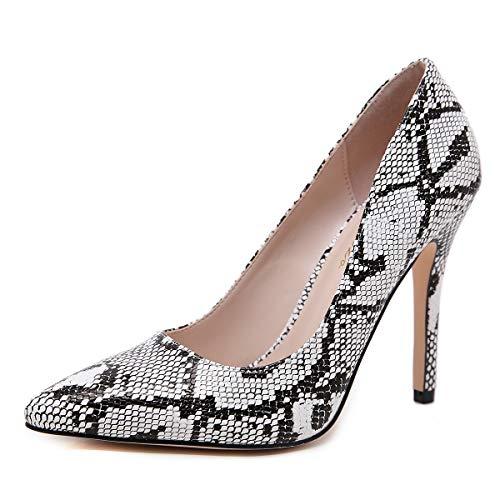 Stupmary Damen Pumps Schuhe Spitzen Zehenbereich High Heels Damen Hochzeit Party Kleid Stilleo Schuhe, Grau (Schlangenleder-Optik), 6.5 M EU