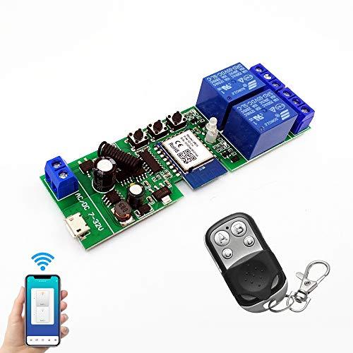 Módulo de relé inalámbrico Abrepuertas WiFi interruptor 2 canales avance lento/autobloqueo relé DIY control remoto de puertas garaje con control remoto RF de 433 Mhz compatible con Alexa, Google IFTTT