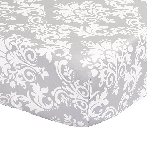 Grey Damask Fitted Crib Sheet - 100% Cotton Baby Girl Floral Print Nursery and Toddler Bedding