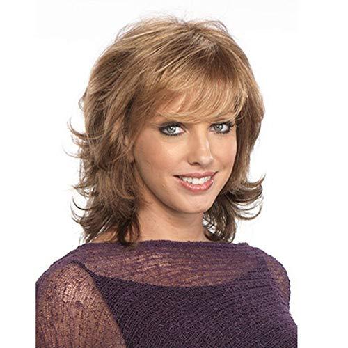 WANGZ Court bouclés Perruques for Les Femmes Brown Big Curly Perruques de Cheveux synthétiques résistant à la Chaleur Cosplay Quotidien Perruques Aspect Naturel