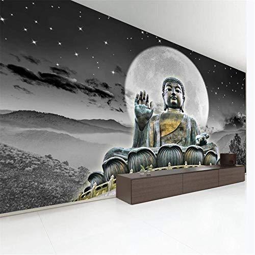 Looaceo 3D Niño Foto Mural Fondo De Pantalla Autoadhesivo Papel Tapiz 3D Mural Hong Kong Gran Buda Solemne Estatua De Buda Fondo Pared Sala De Estar Dormitorio Decoración Painti(W)300X(H)210Cm