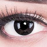 Funnylens 1 Paar farbige schwarz schwarze Crazy Fun black out Kontaktlinsen MIT STÄRKE -3,50 und + Behälter von Funnylens. Perfekt zu Halloween, Karneval, Fasching oder Fasnacht.