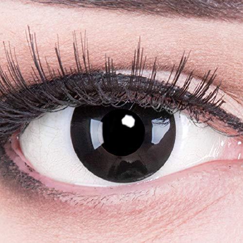 Funnylens 1 Paar farbige schwarz schwarze Crazy Fun black out Kontaktlinsen ohne Stärke mit + Behälter von Funnylens. Perfekt zu Halloween, Karneval, Fasching oder Fasnacht.