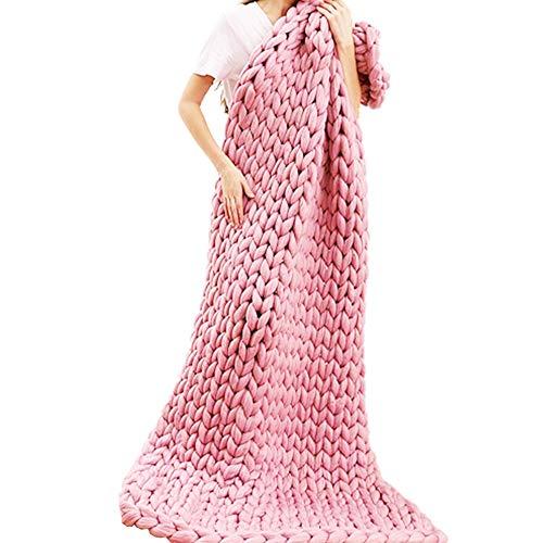 Jlxl Manta De Sofá Y Cama Mano Manta De Punto, Suave for Tejer Voluminosa for Sofá O Mascota Regalo (Color : Pink, Size : 100x120cm/39x47in)