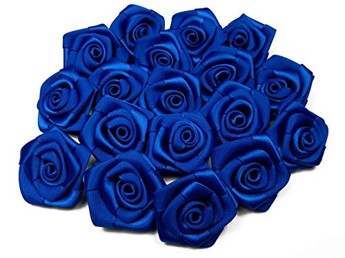 10 Stk. Satinrosen 3cm (blau/königsblau 352) // Rosen 30mm Stoffrosen Satin Satinröschen Rosenköpfen deko Basteln Tischdeko Dekoration Streudeko Hochzeit Taufe Kommunion Blumen Applikationen