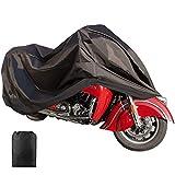 ILM Motorcycle Cover Waterproof Sunblock Dustproof Outdoor Garage Motor Cover with 3 Adjustable Buckles XXXL Fit up to 108' Harley Davidson Honda Suzuki Kawasaki Yamaha Ducati KTM BMW(Black)
