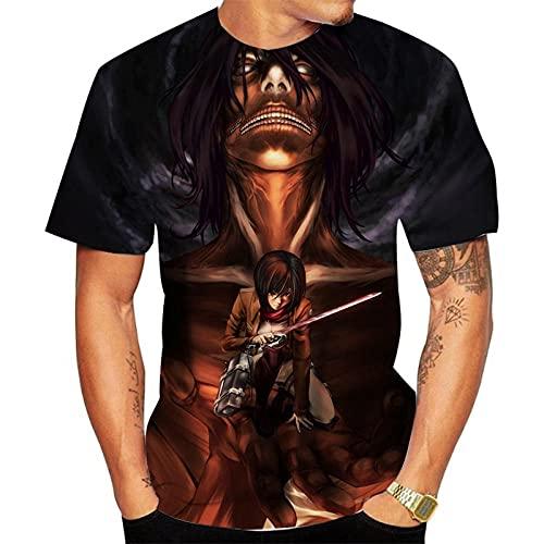 T-Shirts,Herren/Damen Anime Mikasa Ackerman Lässiger Kurzarmangriff Auf Titan Unisex Round Neck Atmungsaktive Farbmischung 5XL