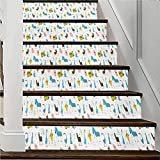 3D Self-Adhesive Removable Staircase Stickers, Staircase Stickers Home Decal Wallpaper, Cartoon Farm Animals Pattern with Pig Rooster Cow Horse and, W39.3 x H7.08 Inch x6PCS