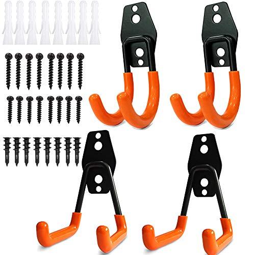 4 piezas Gancho para Colgador de Garaje dobles Ganchos de almacenamiento de garaje Gancho de Bicicleta de Pared para organizar herramientas,escaleras,bicicletas