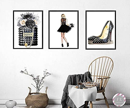 HUANGXLL Fashion Girl Art Black Perfume Canvas Painting High Heels Design Posters and Prints Wall Art Picture for Living Room Home Decor-40x60cmx3Pcs-No Frame