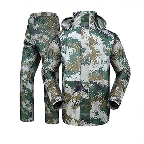 GERUAFU regenjas pak, Oxford waterdichte jas mesh voering en broeken voor mannen, in de open lucht, fietsen, vissen, militaire training, redding, etc. (legergroen)