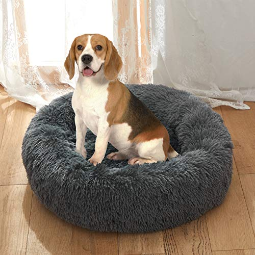 Uozzi Bedding Plush Faux Fur Round Pet Dog Bed, Comfortable Fuzzy Donut Cuddler Cushion for Dogs & Cats, Soft Shaggy and Warm for Winter (Dark Gray, 23.6â€)